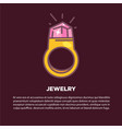 jewelry cartoon poster with gold ring and vector image