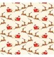 Seamless Christmas Pattern with Santa on Sleigh vector image