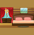 room with wooden bed and red curtain vector image vector image