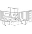 living room view interior outline sketch vector image