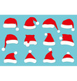 Santa Claus red hat set on blue vector image
