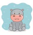 cute adorable hippo animal cartoon vector image