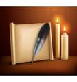 Feather Parchment Candles Realistic Background vector image