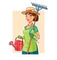 Gardener girl with rake and vector image