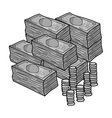 Piles of cash and coins icon in monochrome style vector image