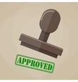 stamp approved in green on brown background vector image