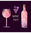 Wine tasting card infographic grape sign vector image