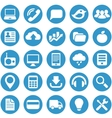 Icons for web site in blue circle vector image vector image