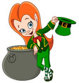 leprechaun girl vector image
