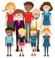 Adult and children with happy face vector image
