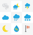 climate flat icons set collection of shower drop vector image