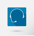 headphone square icon of support with long shadow vector image