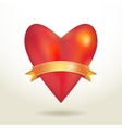 Red glossy shiny three-dimensional heart 3d and vector image