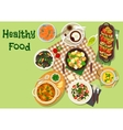 Seafood lunch dishes icon for menu design vector image