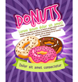 Chocolate and sugar glazed donut bakery poster vector image