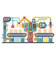 flat color industrial manufacture conveyor machine vector image