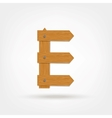 Wooden Boards Letter E vector image
