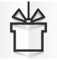 Black gift box line silhouette frame with shadow vector image