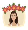 Woman face with flowers vector image