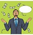 Businessman under the money rain pop art vector image