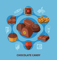 chocolate candies flat composition vector image