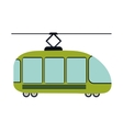 colorful silhouette with trolley car vector image