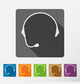 headphone square icons set of support with long vector image