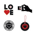 love heart set on white background vector image
