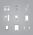 Icons phones and telecommunication devices vector image