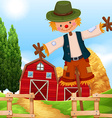 Farm scene with barn and scarecrow vector image