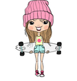 Cute hipster fashion girl with skateboard vector image vector image