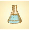 Sketch beaker in vintage style vector image