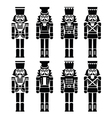 Christmas nutcracker - soldier figurine black icon vector image