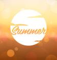Summer Label on Blurred Background vector image