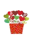 Colorful Sweet heart Cake pops set with bow in a vector image