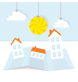 Abstract paper town with sun vector image