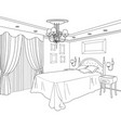 bedroom furniture doodle line sketch of home vector image