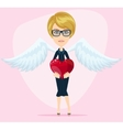Female angel with beautiful wings gives heart for vector image