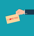 human hands holding i love you lettering card vector image