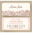 Vintage floral Wedding invitation card design temp vector image