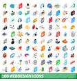 100 webdesign icons set isometric 3d style vector image