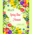 spring greeting card with flowers bunch vector image