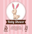 baby shower card invitation save date - rabbit vector image