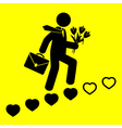 man goes up the stairs of hearts vector image