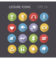 Flat icons for leisure and entertainment vector image