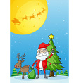 Santa with his reindeer vector image vector image