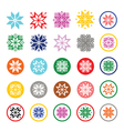 Colorful pixelated snowflakes Christmas icons vector image vector image