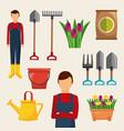 gardening set of icons gardener tools flowers sack vector image