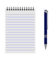 notebook with a blue pen vector image