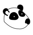 panda cartoon head in black silhouette with thick vector image